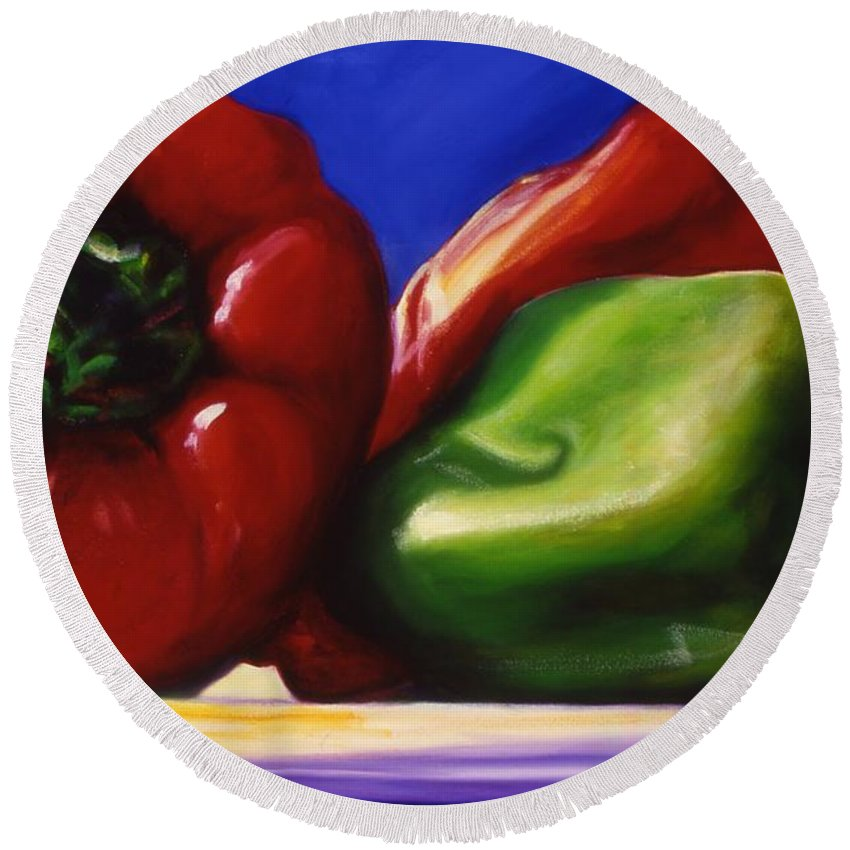 Still Life Round Beach Towel featuring the painting Harvest Festival Peppers by Shannon Grissom