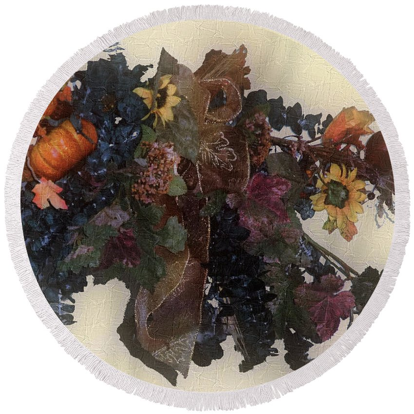 Autumn Round Beach Towel featuring the painting Harvest Home by RC DeWinter