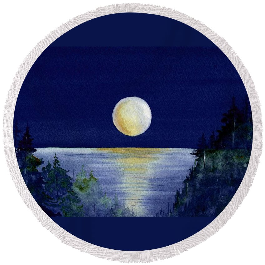 Watercolor Round Beach Towel featuring the painting Harvest Moon by Brenda Owen