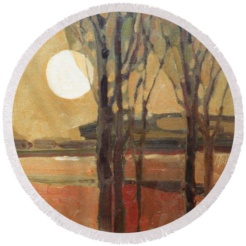 Sunset Round Beach Towel featuring the painting Harvest Moon by Donald Maier