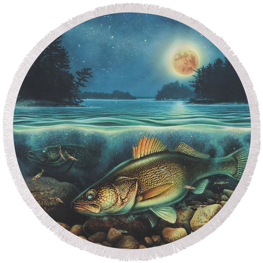 Jon Q Wright Round Beach Towel featuring the painting Harvest Moon Walleye 3 Extended Version by Jon Wright