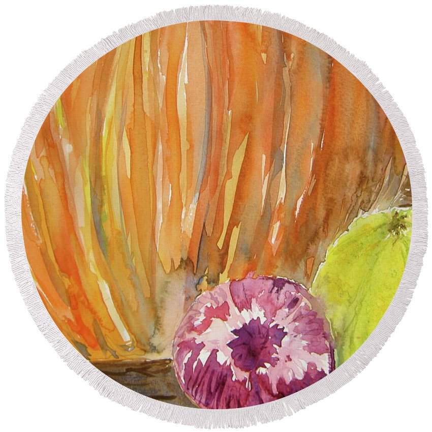 Pumpkin Round Beach Towel featuring the painting Harvest Still Life by Beverley Harper Tinsley