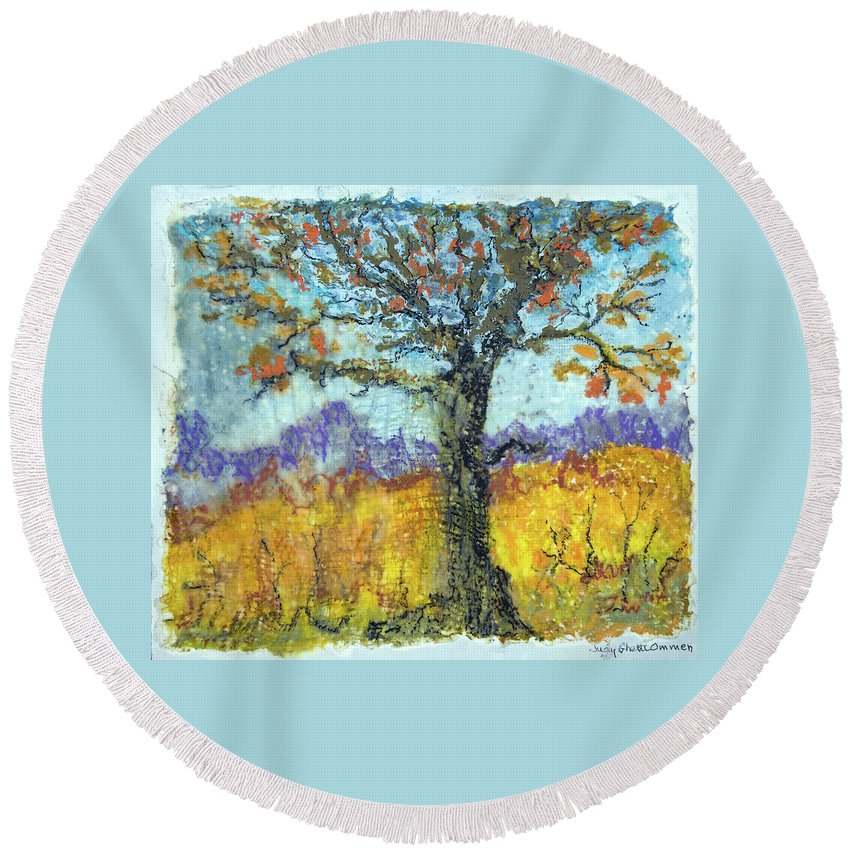 Encaustic Round Beach Towel featuring the painting Harvest Time by Judith Ghetti Ommen