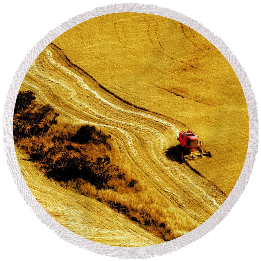 Combine Round Beach Towel featuring the photograph Harvesting The Crop by Mal Bray