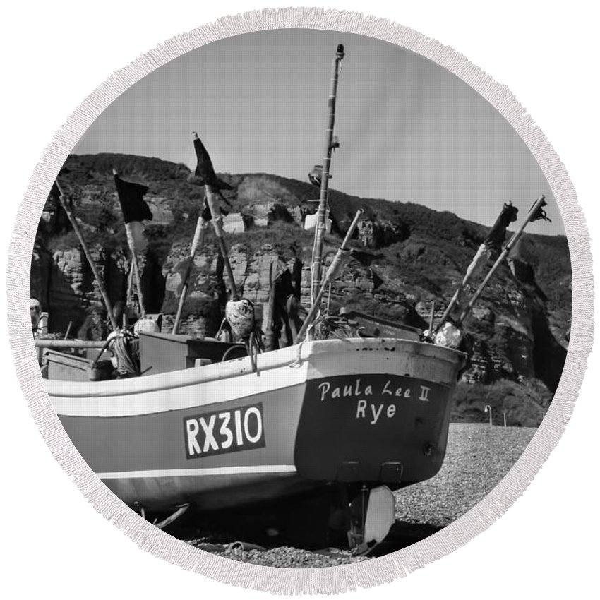 Black And White B & W Bandw B&w Monochrome Monochromatic Grey Gray Scale Sea Coast Seaside Beach Blue Fishing Boat Boats Uk Britain British England English Hastings Sussex Europe European Fishery Summer Traditional Scene Scenery Small Commercial Equipment Netting Fishnet Marine Transport Transportation Shore Coastal Coastline Travel Traveling Tourism Landscape Wooden Attraction View Rock Rocky Cliff Cliffs Rocky Nobody Round Beach Towel featuring the photograph Hastings Boat 4 by Marcin Rogozinski