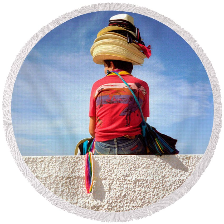 Art Round Beach Towel featuring the photograph Hats by Frank DiMarco