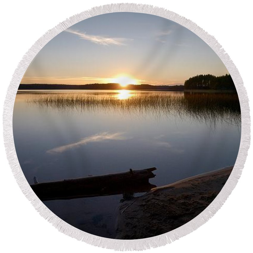 Lehtokukka Round Beach Towel featuring the photograph Haukkajarvi Evening by Jouko Lehto
