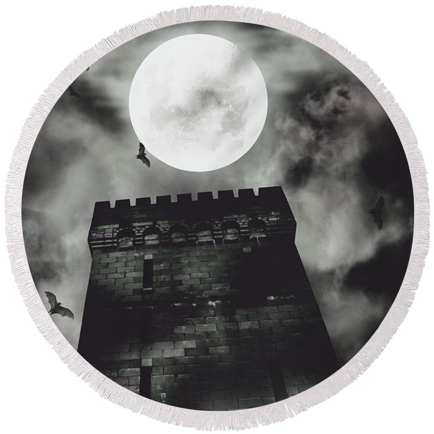 Castle Round Beach Towel featuring the photograph Haunted Dark Castle by Jorgo Photography - Wall Art Gallery