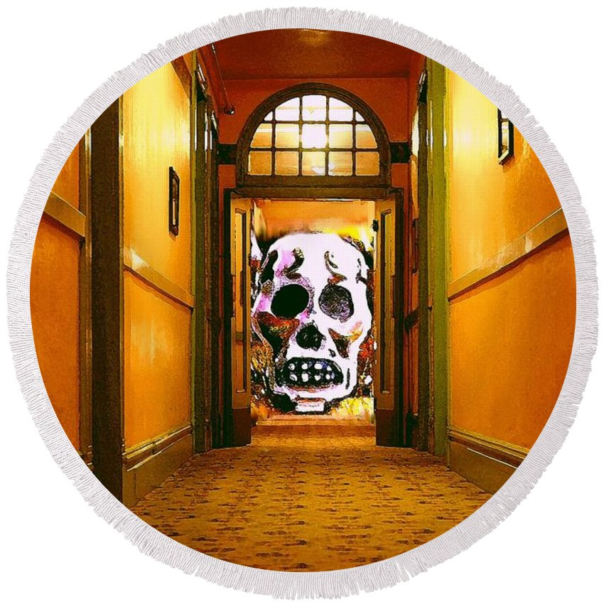 Haunted Round Beach Towel featuring the photograph Haunted Hallway by Nelson Strong
