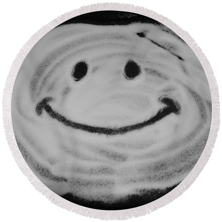 Black And White Round Beach Towel featuring the photograph Have A Nice Day by Rob Hans