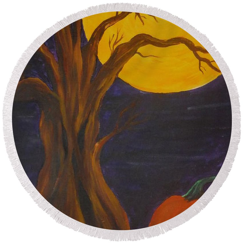 Tree Round Beach Towel featuring the painting Havest Moon by Barbara Stanley