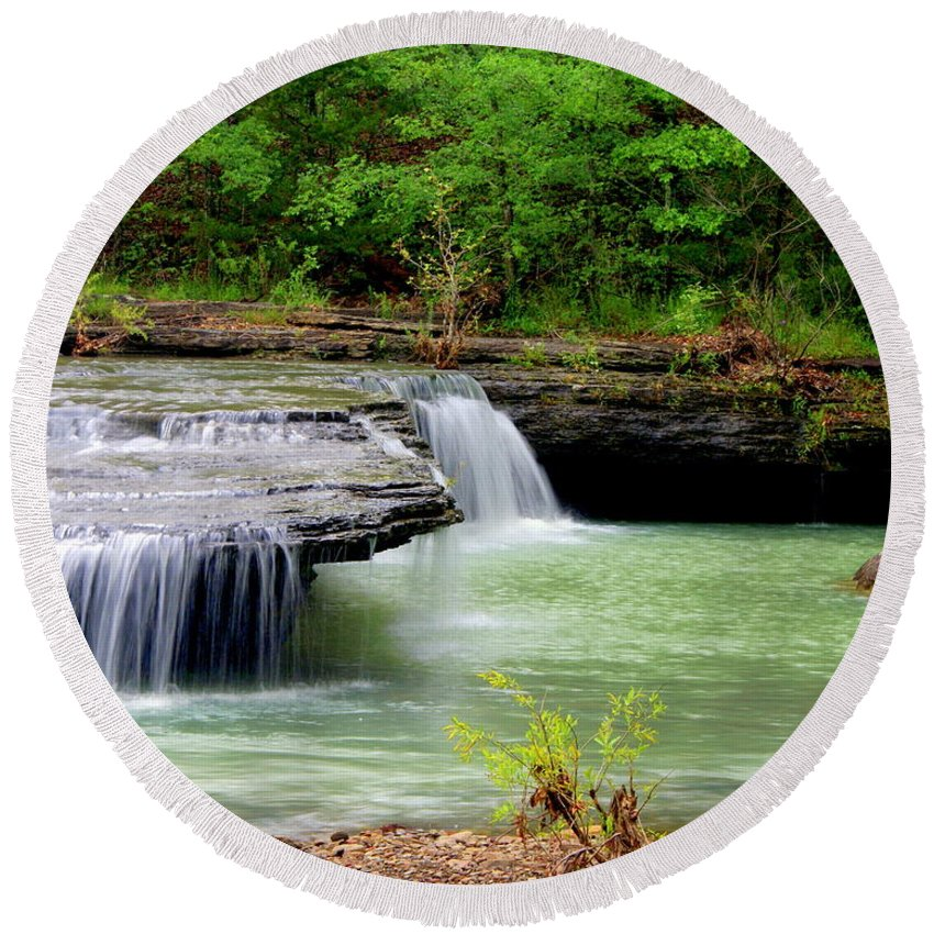 Waterfalls Round Beach Towel featuring the photograph Haw Creek Falls by Marty Koch