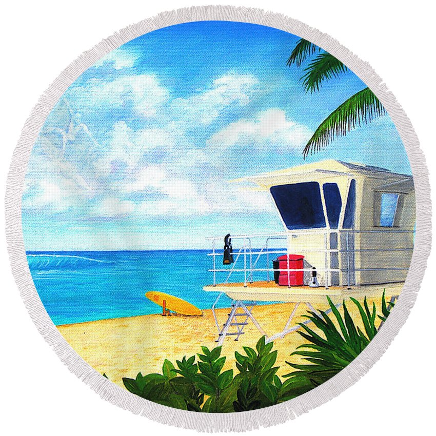 Hawaii Round Beach Towel featuring the painting Hawaii North Shore Banzai Pipeline by Jerome Stumphauzer