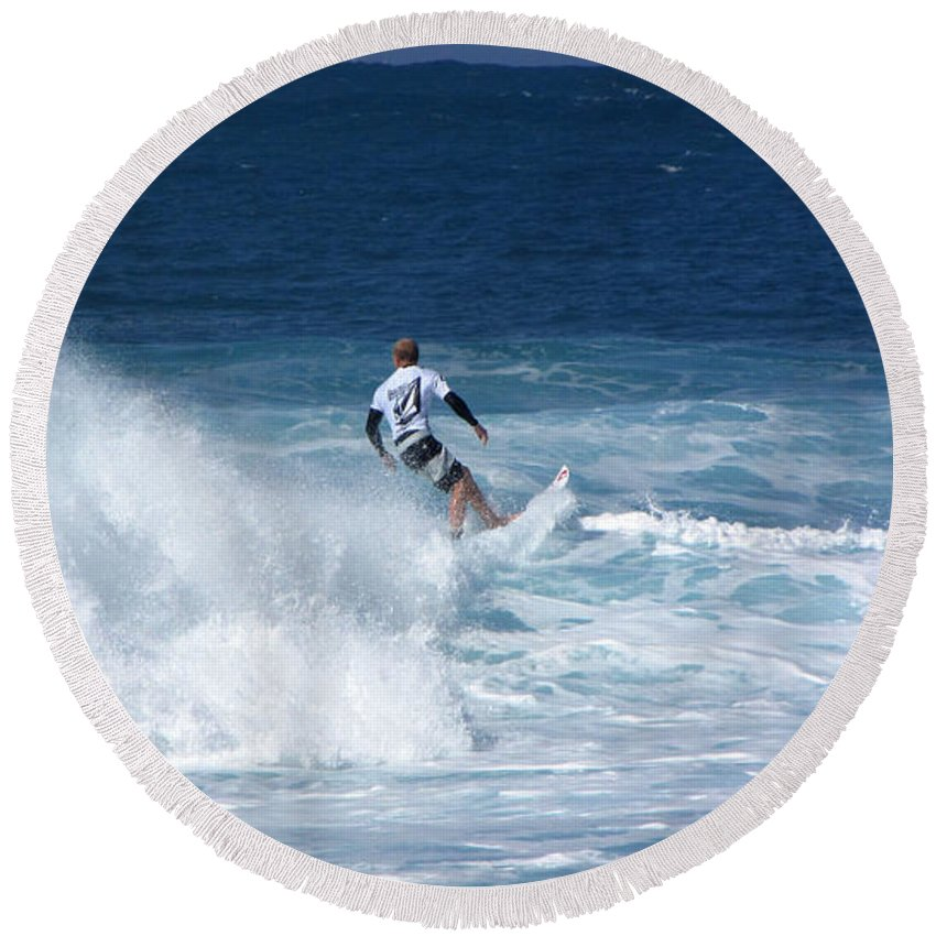 Surfer Round Beach Towel featuring the photograph Hawaii Pipeline Surfer by Sarah Houser