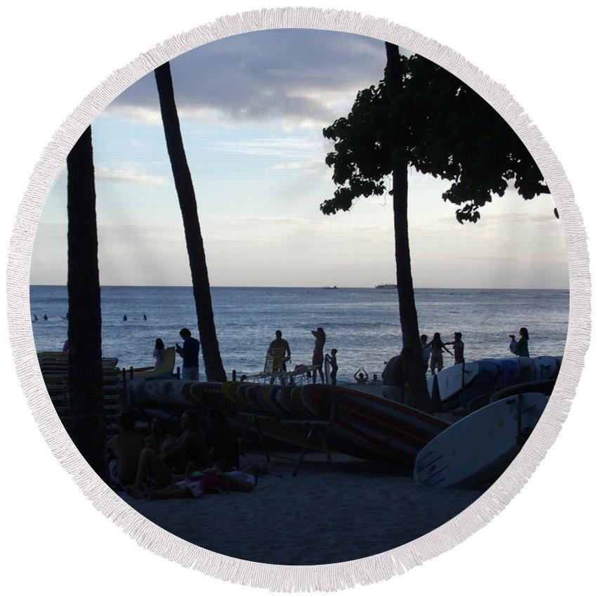 Vacation Photographs Round Beach Towels