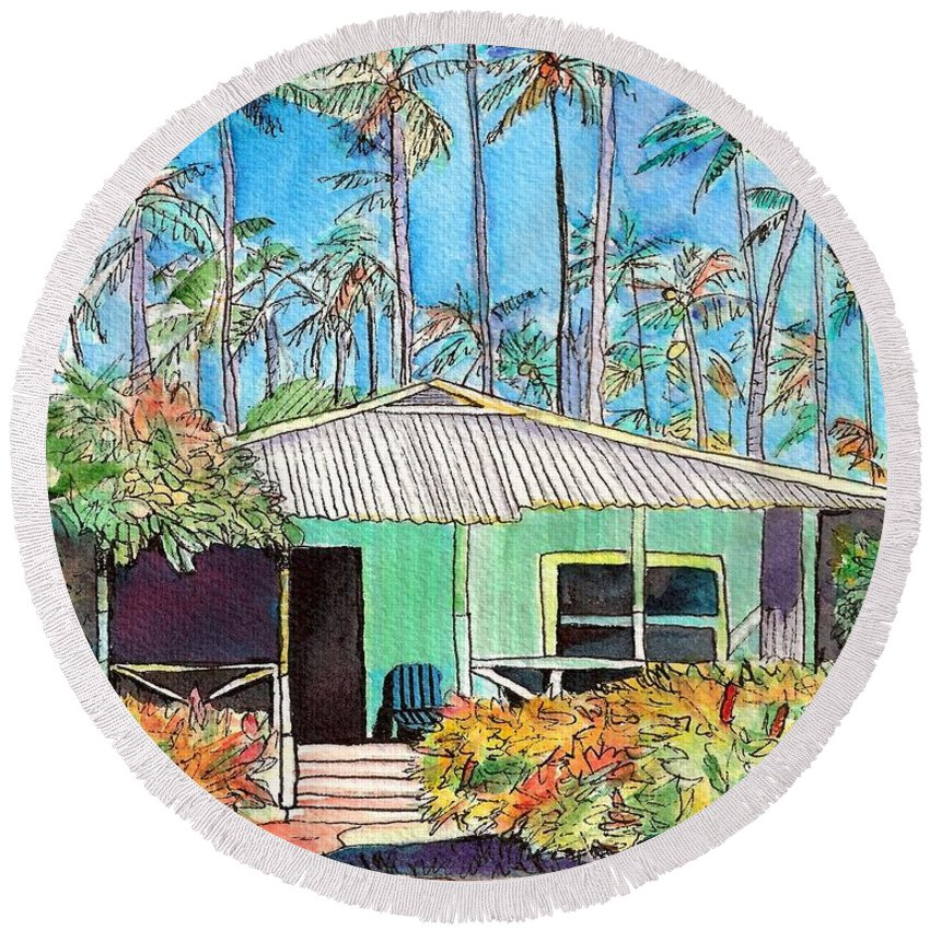 Cottage Round Beach Towel featuring the painting Hawaiian Cottage I by Marionette Taboniar
