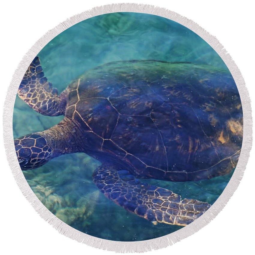 Pamela Walton Round Beach Towel featuring the photograph Hawaiian Sea Turtle by Pamela Walton