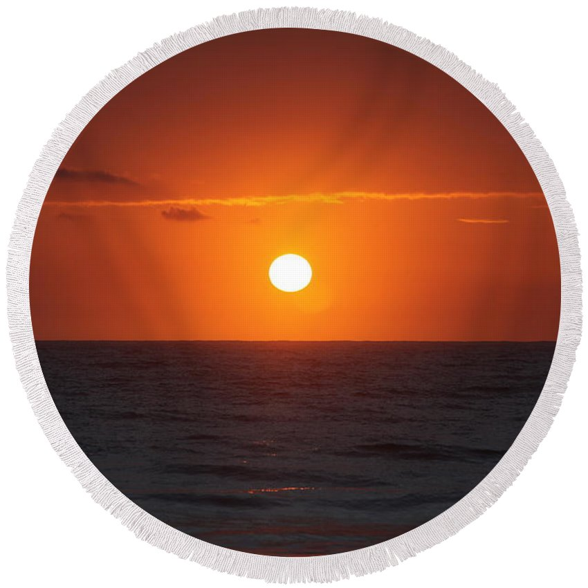 Sunrise Round Beach Towel featuring the photograph Hawaiian Sunrise by Nadine Rippelmeyer