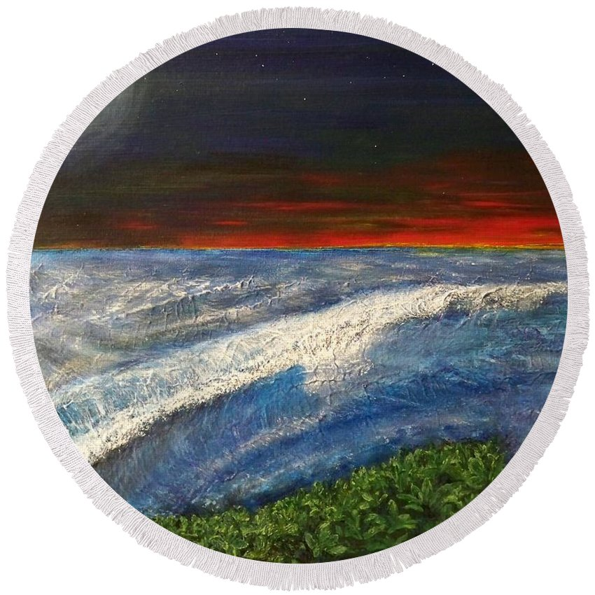 Beaches Round Beach Towel featuring the painting Hawiian View by Michael Cuozzo