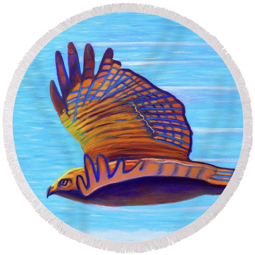 Hawk Round Beach Towel featuring the painting Hawk Speed by Brian Commerford