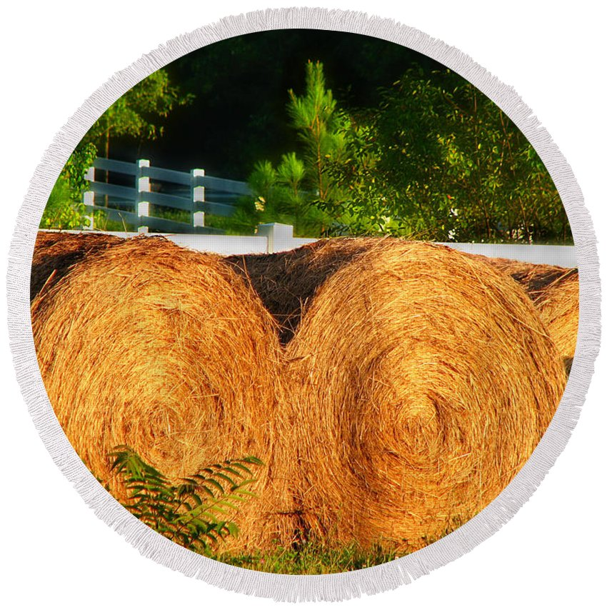 Landscape Round Beach Towel featuring the photograph Hay Bales by Todd A Blanchard