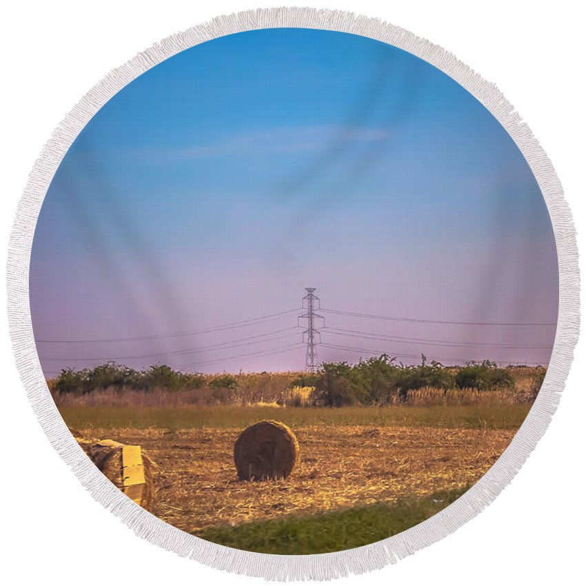 Farming Round Beach Towel featuring the photograph Hay Rolls by Claudia M Photography