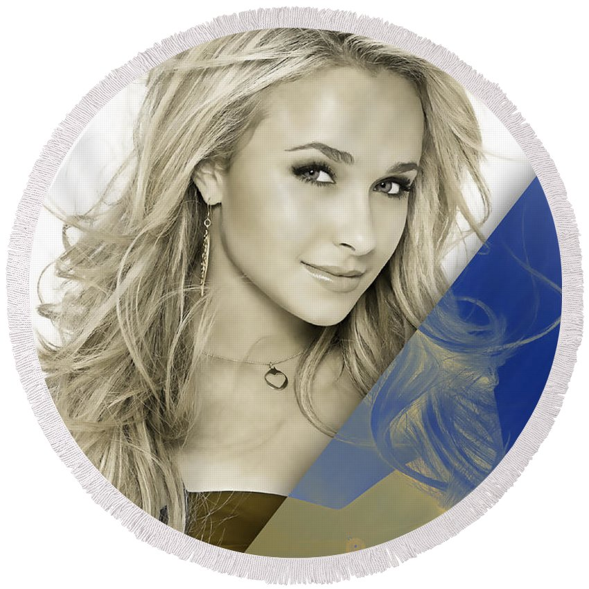Hayden Panettiere Round Beach Towel featuring the mixed media Hayden Panettiere Collection by Marvin Blaine