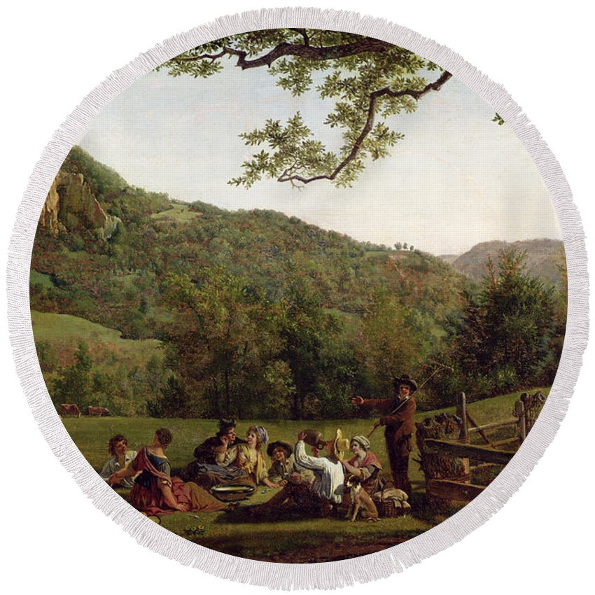 Haymakers Round Beach Towel featuring the painting Haymakers Picnicking In A Field by Jean Louis De Marne