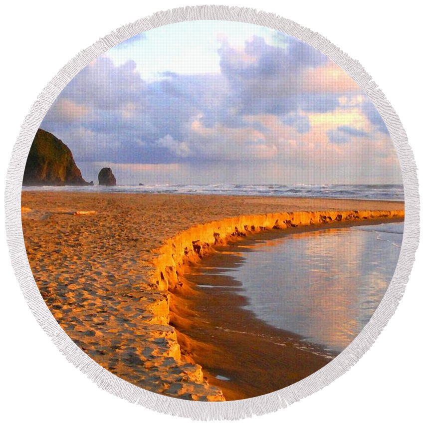 Haystack Heaven Round Beach Towel featuring the digital art Haystack Heaven by Will Borden
