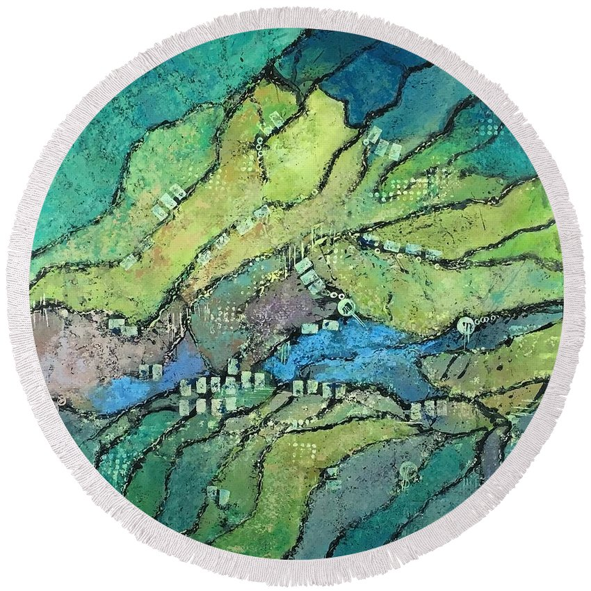 Abstract Landscape Round Beach Towel featuring the painting Haystack Mountain by Lloyd Goodwin