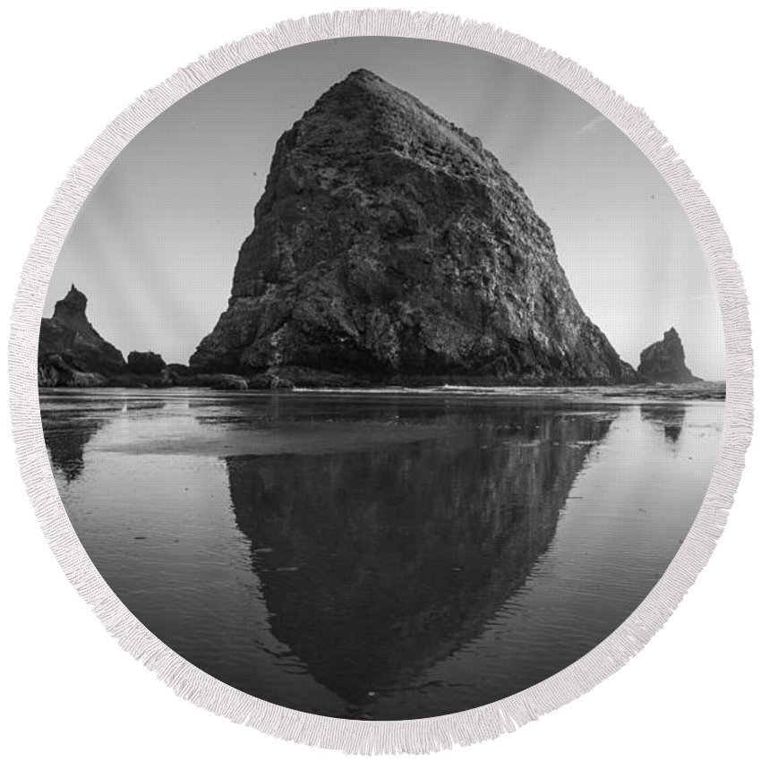 Cannon Beach Round Beach Towel featuring the photograph Haystack Rock by Kristopher Schoenleber