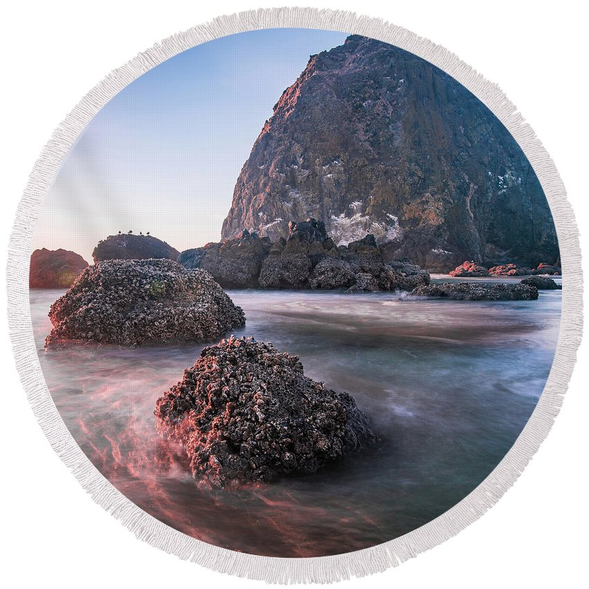 Cannon Round Beach Towel featuring the photograph Haystack Rocklife by Travis Elder