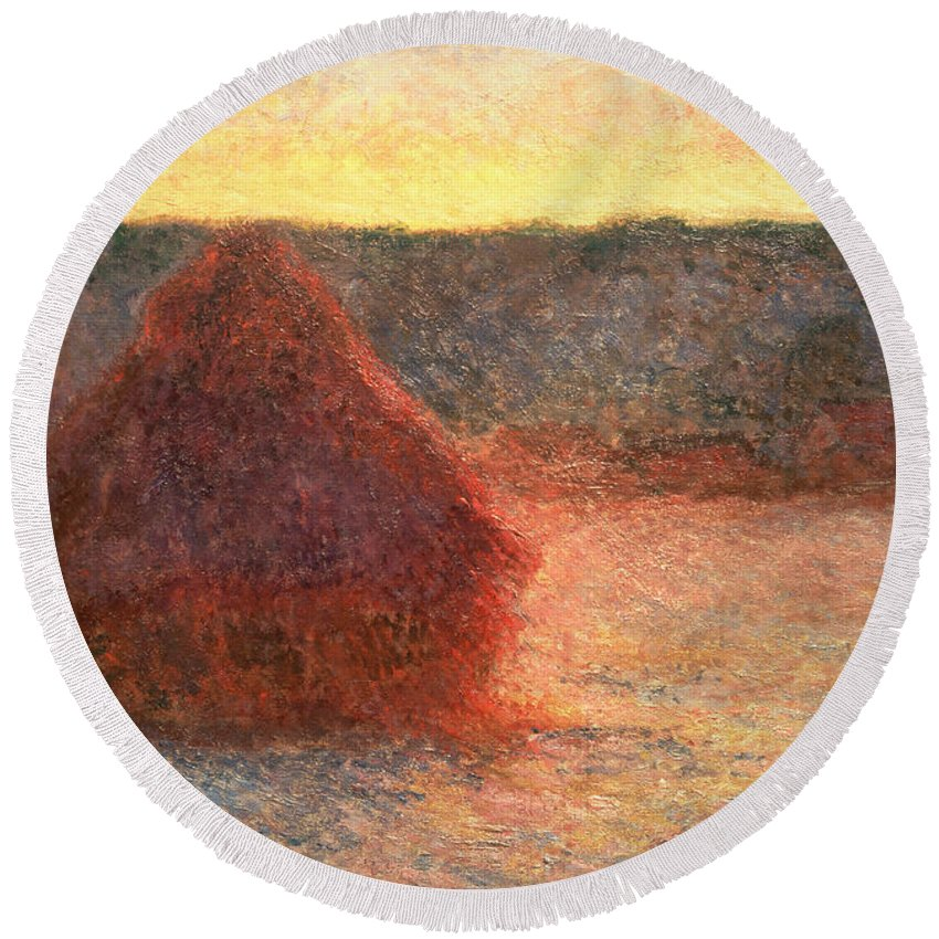 Haystacks At Sunset Round Beach Towel featuring the painting Haystacks At Sunset by Claude Monet