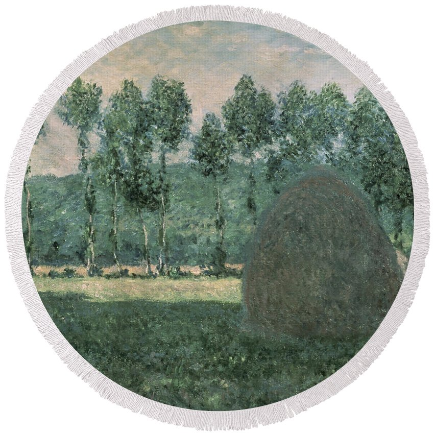 Impressionist; Landscape; Trees; France Round Beach Towel featuring the painting Haystacks Near Giverny by Claude Monet