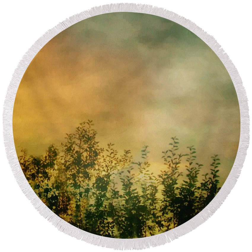 Dusk Round Beach Towel featuring the painting Haze On Moonlit Meadow by RC deWinter