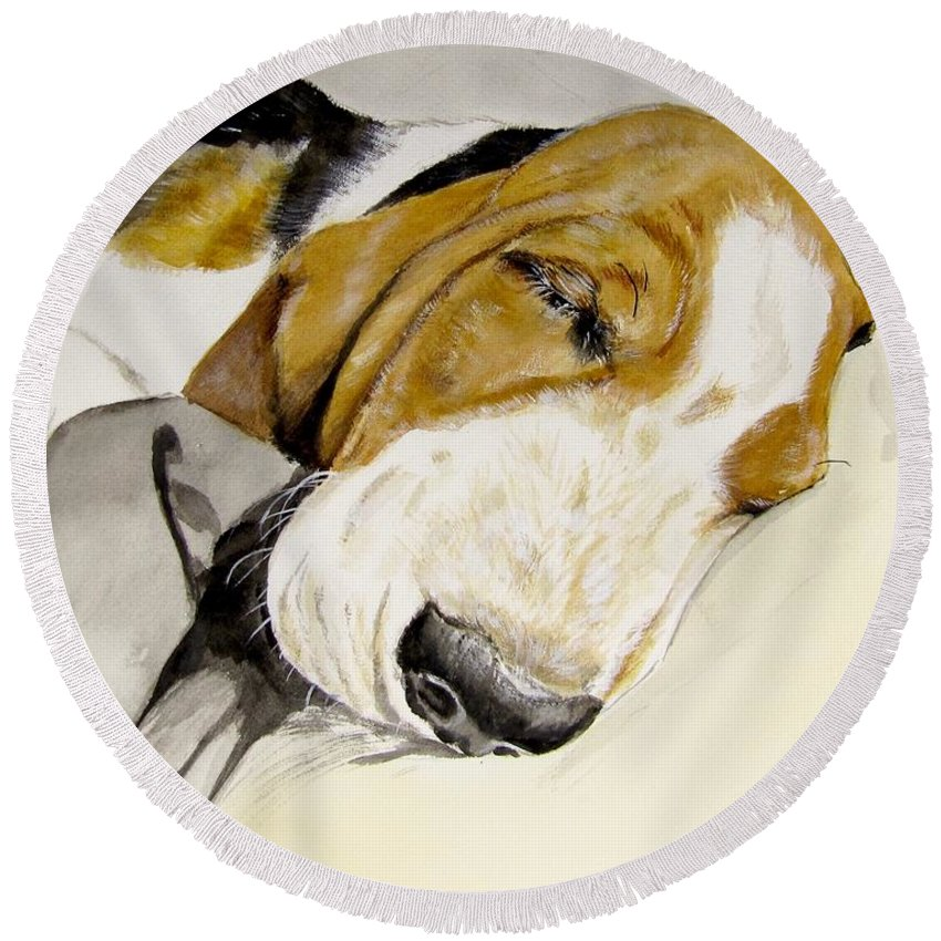 Basset Hound Painting Round Beach Towel featuring the painting Hazel First Portrait by Carol Blackhurst