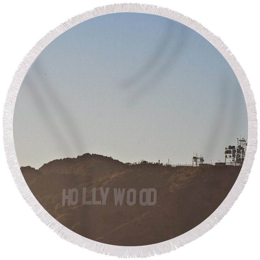 Los Angeles Round Beach Towel featuring the photograph Hazy Hollywood #2 by Robert J Caputo