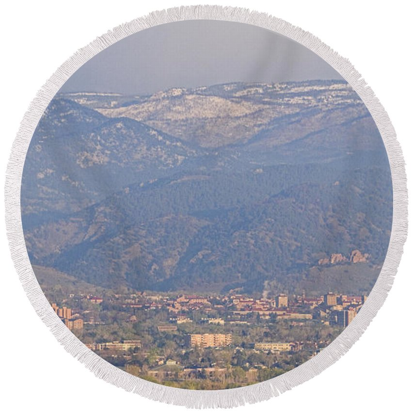 Colorado Round Beach Towel featuring the photograph Hazy Low Cloud Morning Boulder Colorado University Scenic View by James BO Insogna
