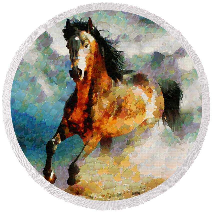 Horse Round Beach Towel featuring the digital art Hc0255 by Heloisa Castro