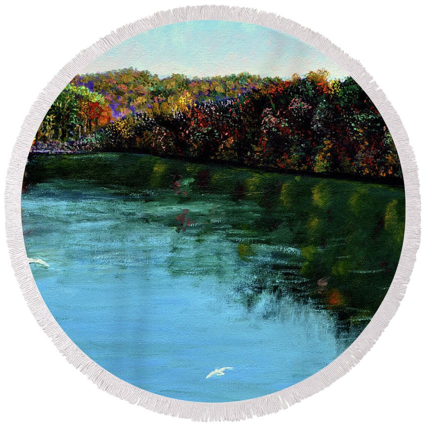 Lake Round Beach Towel featuring the painting Hdemo1 by Stan Hamilton