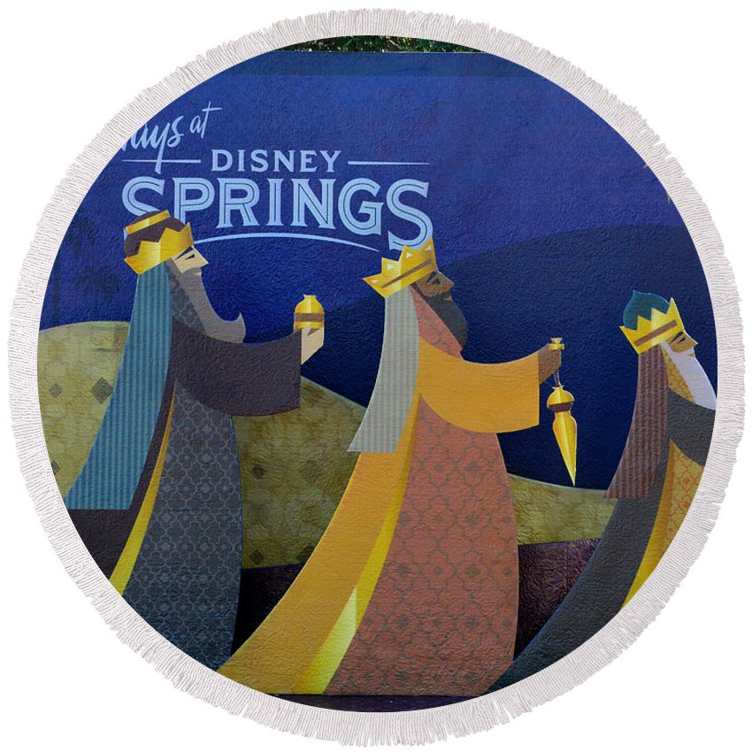 Disney Springs Florida Round Beach Towel featuring the photograph Three Wise Men Disney Springs by David Lee Thompson