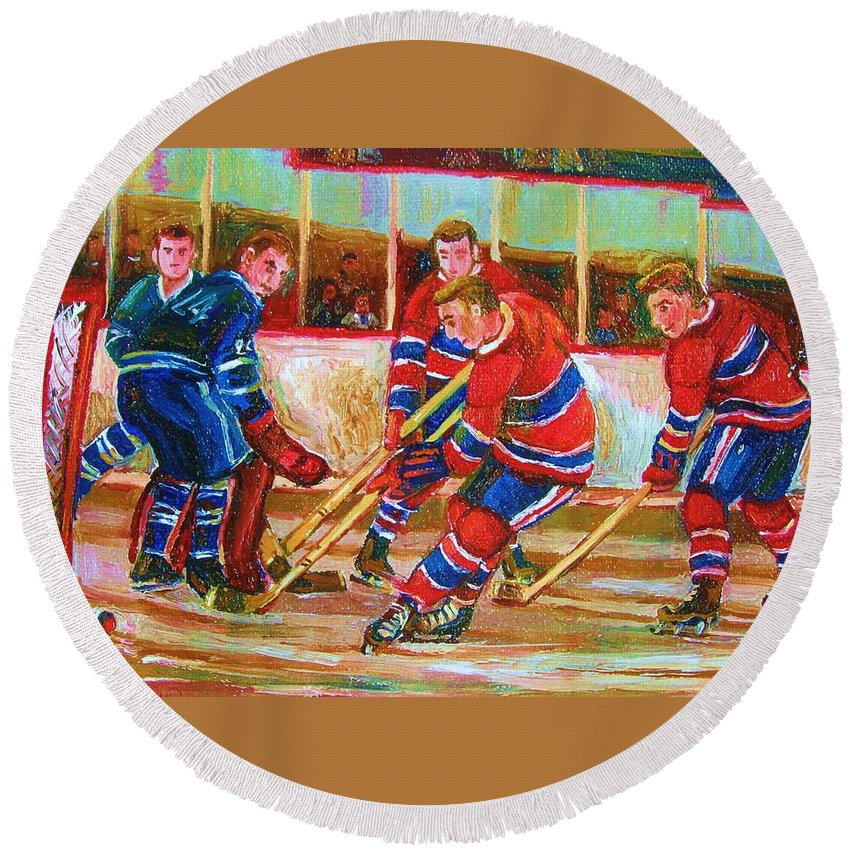 Hockey Round Beach Towel featuring the painting He Shoots  He Scores by Carole Spandau