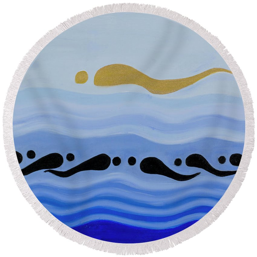 He Tu Water Round Beach Towel featuring the painting He Tu Water by Adamantini