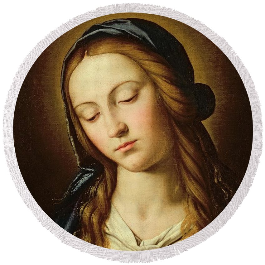 Mary Round Beach Towel featuring the painting Head Of The Madonna by Il Sassoferrato