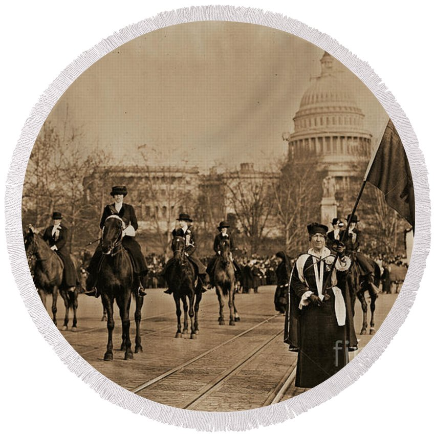 Head Round Beach Towel featuring the photograph Head Of Washington D.c. Suffrage Parade by Padre Art