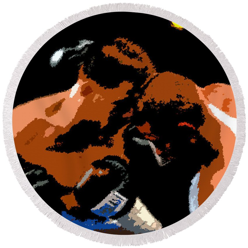 Boxing Round Beach Towel featuring the painting Head To Head by David Lee Thompson