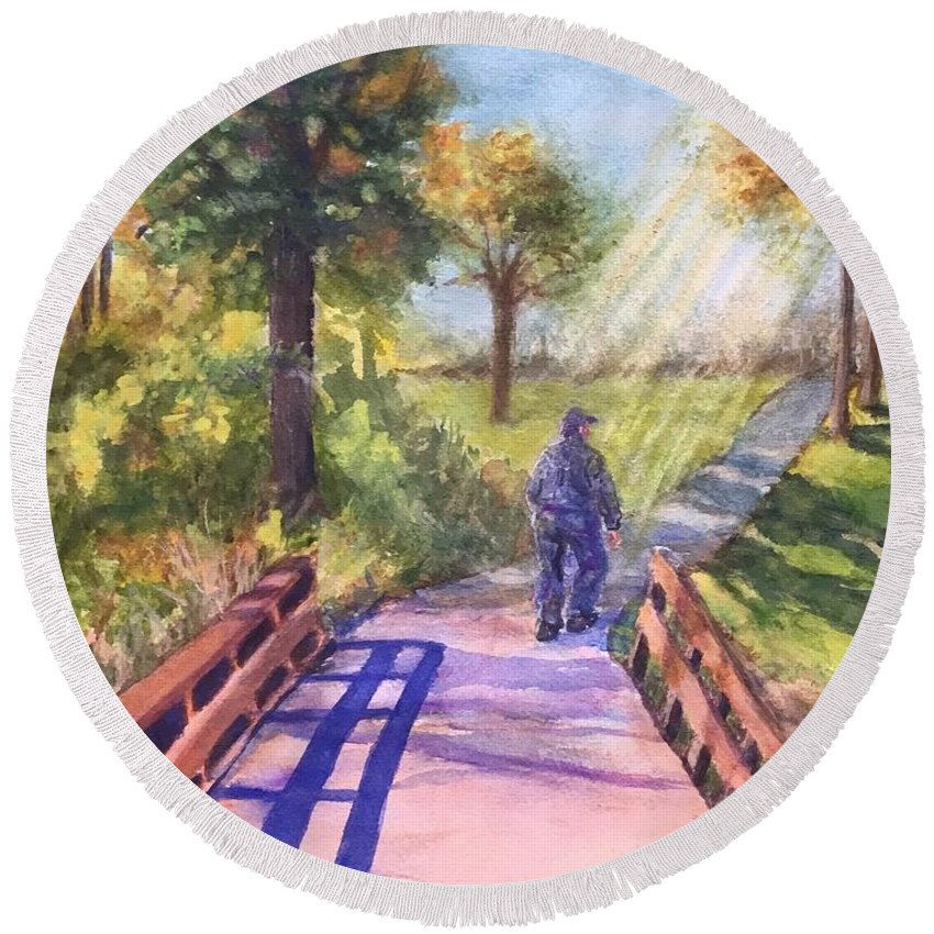 Bridge Round Beach Towel featuring the painting Heading Home by Cheryl Wallace