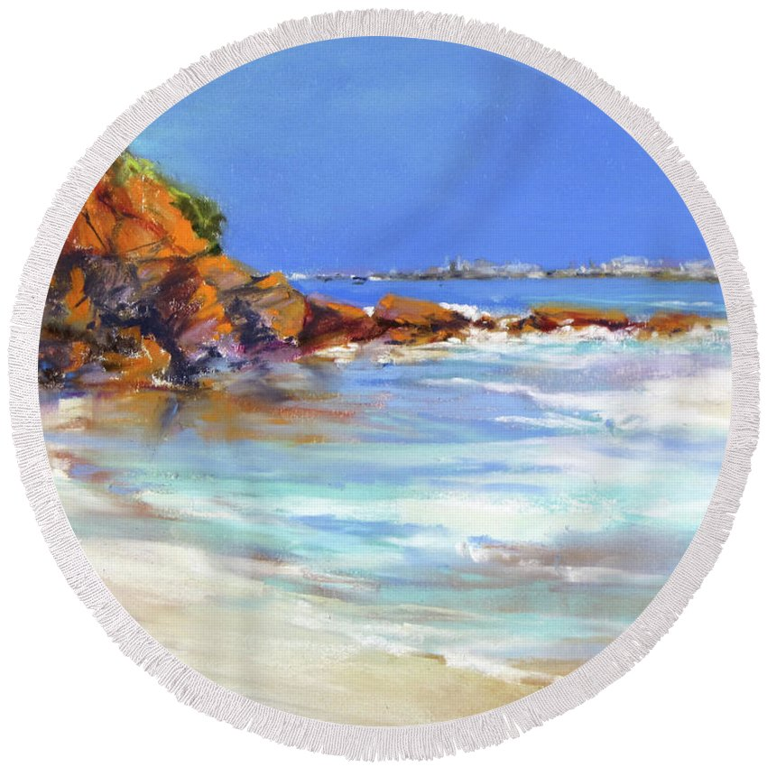 Beach Round Beach Towel featuring the painting Headland At Lowtide.. by Rae Andrews