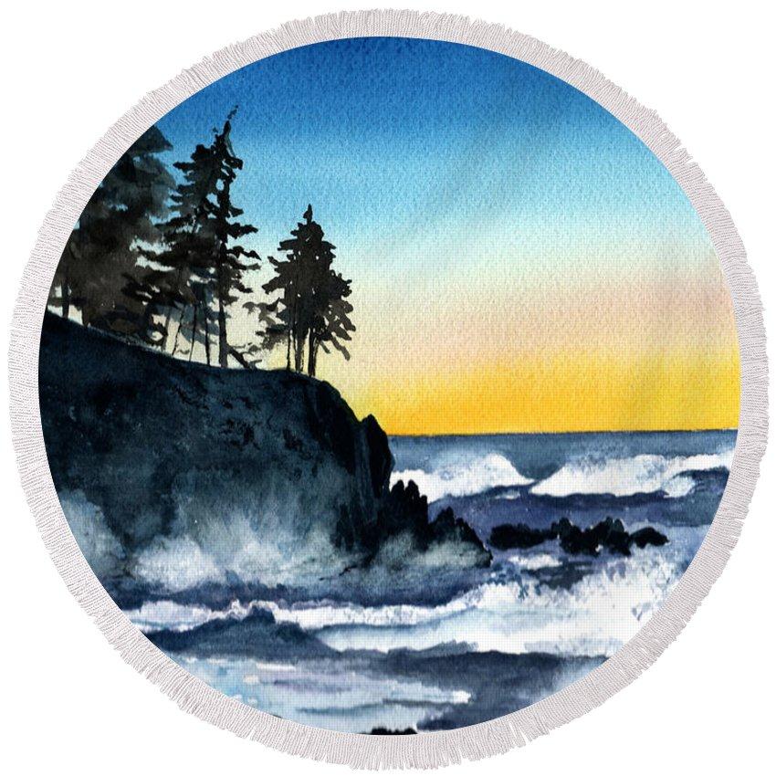 Alaska Round Beach Towel featuring the painting Headland by Brenda Owen