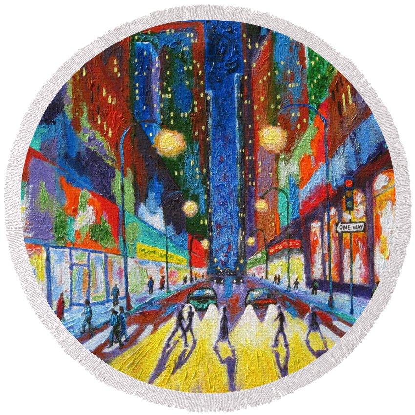 Urban Scene Round Beach Towel featuring the painting Headlights by J Loren Reedy
